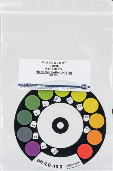 Color comparison disc for VISOCOLORHE pH4–10
